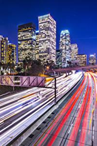 Fotos Vereinigte Staaten Gebäude Straße Los Angeles Bewegung Nacht