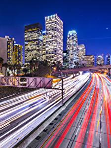 Fotos Vereinigte Staaten Gebäude Straße Los Angeles Fahren Nacht