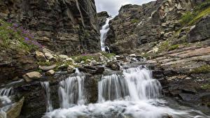 Fotos Steine Wasserfall Park Vereinigte Staaten Felsen Wrangell-St. Elias, state of Alaska Natur