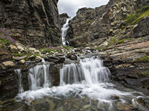 Pictures Stones Waterfalls Parks USA Crag Wrangell-St. Elias, state of Alaska Nature