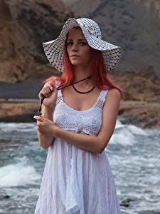 Hintergrundbilder Piper Fawn Rotschopf Kleid Der Hut Blick