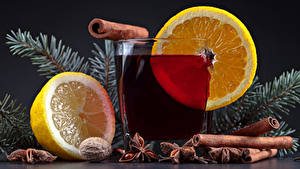 Hintergrundbilder Neujahr Getränke Zitrone Zimt Trinkglas Lebensmittel