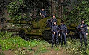 Fotos Selbstfahrlafette Soldaten Russische SU-152 3D-Grafik