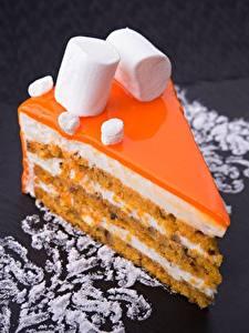 Fotos Törtchen Nachtisch Torte Stücke Marshmallow Lebensmittel
