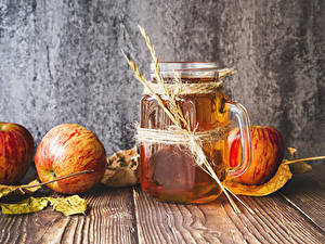 Fotos Saft Äpfel Bretter Becher Blattwerk Ähre das Essen