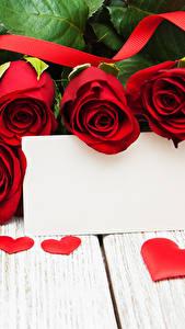 Bilder Valentinstag Rosen Bretter Rot Vorlage Grußkarte Herz Band Blumen