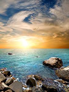 Bilder Russland Krim Sonnenaufgänge und Sonnenuntergänge Küste Steine Himmel Horizont