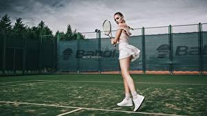Hintergrundbilder Tennis Bein Schöne Posiert Katrin Sarkozy, Anton Harisov Mädchens