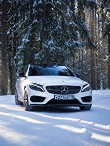 Hintergrundbilder Mercedes-Benz Weiß Vorne Schnee mercedes c63 amg c450