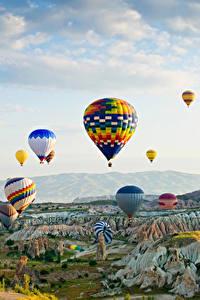 Hintergrundbilder Türkei Park Fesselballon Felsen Goreme national park