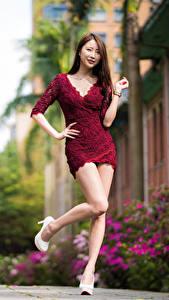 Bilder Asiaten Posiert Kleid Bein junge frau