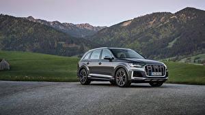 Desktop hintergrundbilder Audi Softroader Graues Metallisch SQ7 TFSI, Worldwide, 2020 auto