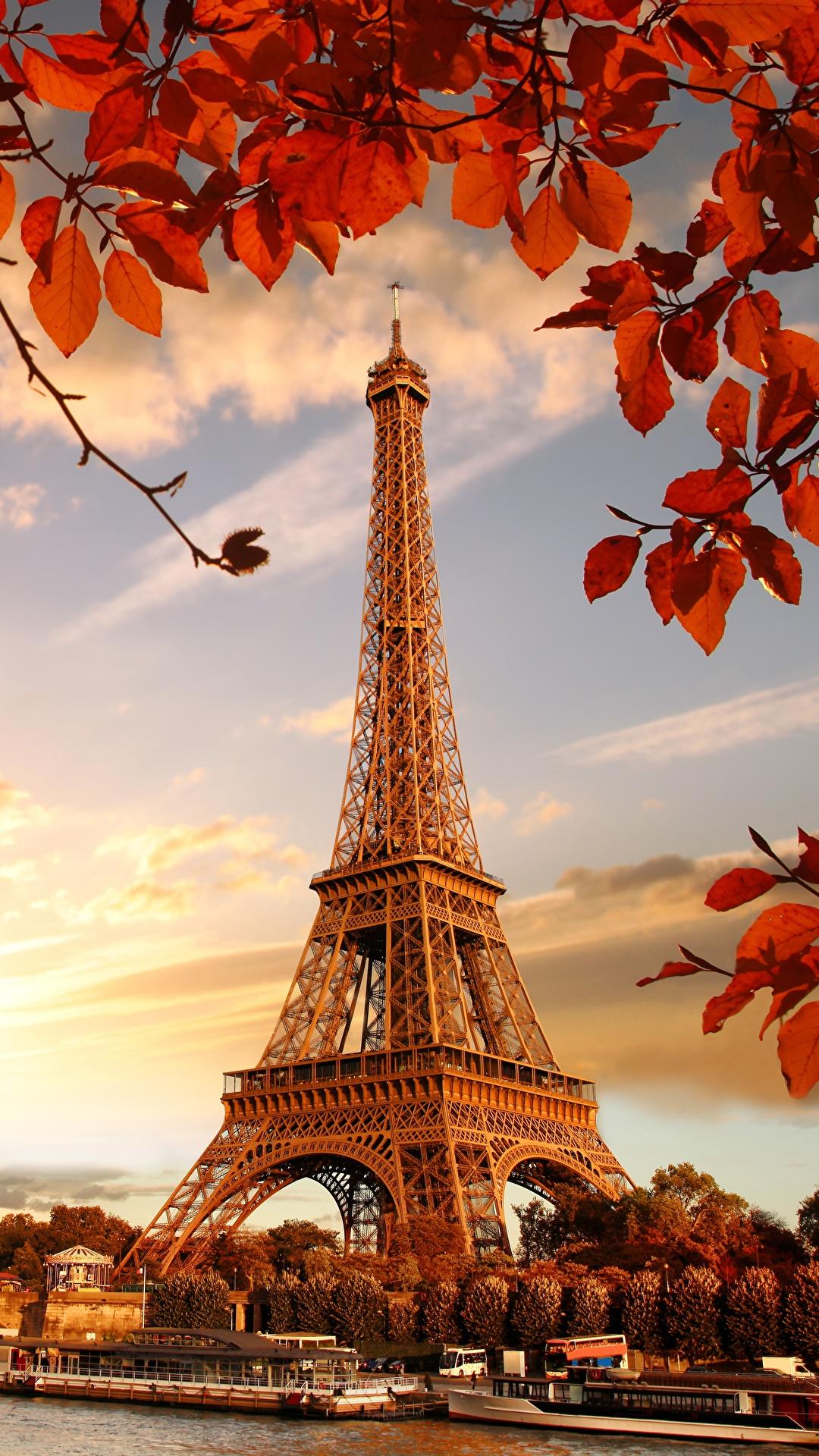Fonds D Ecran 1080x1920 France Automne Tour Eiffel Paris