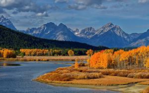 Bilder Herbst Vereinigte Staaten Park Gebirge Wälder See Landschaftsfotografie Grand Teton National Park Natur