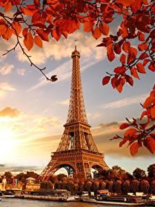 Hintergrundbilder Frankreich Herbst Eiffelturm Paris Blattwerk Städte