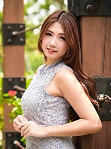 Hintergrundbilder Asiatische Unscharfer Hintergrund Braunhaarige Blick Hand