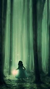 Bilder Wälder Nacht Nebel Lampe Baumstamm Kleine Mädchen Fantasy
