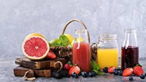 Hintergrundbilder Saft Grapefruit Beere Heidelbeeren Weckglas das Essen