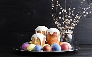 Hintergrundbilder Ostern Kulitsch Zuckerguss Eier