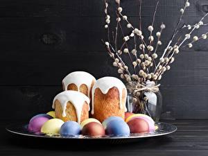 Hintergrundbilder Ostern Kulitsch Zuckerguss Eier Lebensmittel