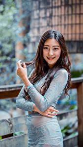 Bilder Asiaten Kleid Hand Lächeln Braune Haare Starren junge frau