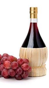 Fotos Wein Weintraube Weißer hintergrund Flasche Lebensmittel