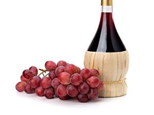 Fotos Wein Weintraube Weißer hintergrund Flasche