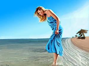 Hintergrundbilder Gezeichnet Küste Wasser Blond Mädchen Kleid