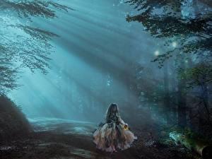 Bilder Straße Wälder Kleine Mädchen Nebel Lichtstrahl Fantasy