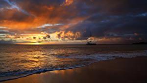 Bilder Morgendämmerung und Sonnenuntergang Küste Wasserwelle Himmel Wolke Natur