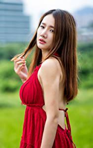 Hintergrundbilder Asiatische Braune Haare Kleid Blick Unscharfer Hintergrund