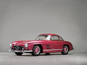 Hintergrundbilder Mercedes-Benz Retro Grauer Hintergrund Rosa Farbe Metallisch 1956 300 SL Autos