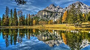 Bilder Gebirge Landschaftsfotografie Italien See Spiegelung Spiegelbild Dolomites Lake Antorno