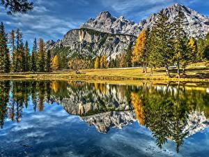 Bilder Gebirge Landschaftsfotografie Italien See Spiegelung Spiegelbild Dolomites Lake Antorno Natur