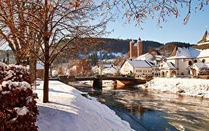 Bilder Deutschland Brücken Flusse Gebäude Winter Bäume Ast Schnee commune of Murlenbach, State Of Rhineland-Palatinate Städte