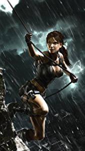 Bilder Tomb Raider Underworld Regen Lara Croft Mädchens