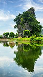 Hintergrundbilder Vietnam Flusse Felsen Strauch Ngo Dong River Natur