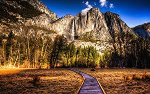 Bilder Vereinigte Staaten Park Gebirge Herbst Landschaftsfotografie Kalifornien Yosemite Bäume HDRI