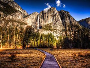 Bilder Vereinigte Staaten Park Gebirge Herbst Landschaftsfotografie Kalifornien Yosemite Bäume HDR Natur