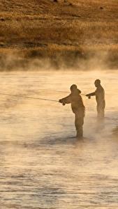 Fotos Flusse Morgen Mann Fischerei Nebel 2
