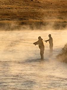壁纸、、川、朝、男性、釣り、霧、2 二つ、