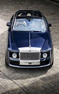 Bilder Rolls-Royce Blau Metallisch Von oben 2017 Sweptail Autos
