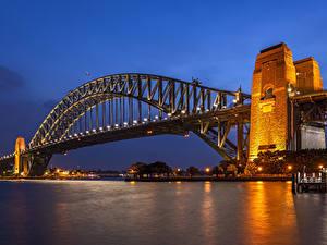 Hintergrundbilder Australien Flusse Brücken Abend Sydney Straßenlaterne Städte