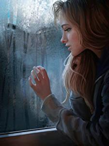 Bilder Gezeichnet Braune Haare Fenster Mädchens