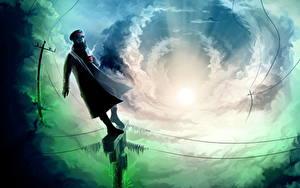 Fotos Romantically Apocalyptic Comic-Helden Wolke Stromleitung Sonne Lichtstrahl Fantasy