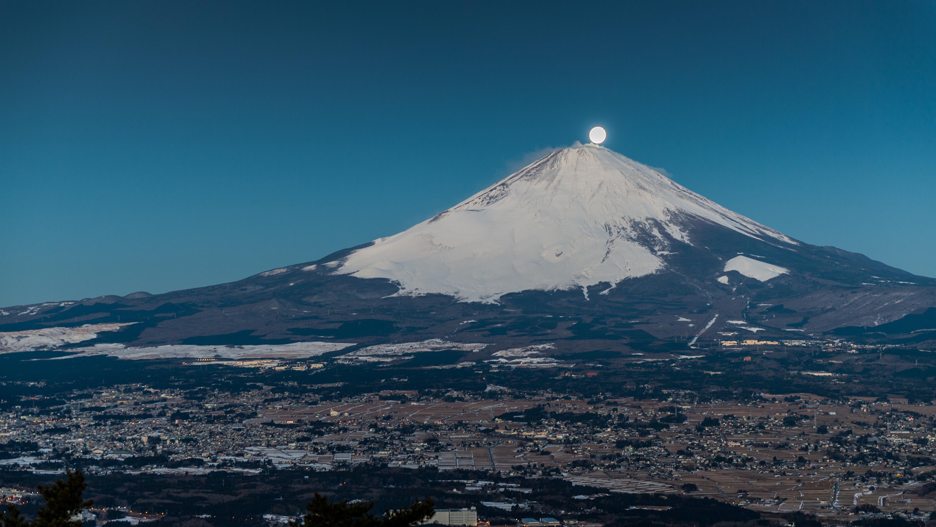 Images Mount Fuji Japan Volcano Nature Mountains Moon 3840x2160