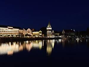 Fotos Haus Seebrücke See Deutschland Nacht Turm Bodensee, Lindau