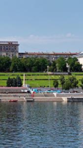 Bilder Russland Gebäude Flusse Bootssteg Wolgograd Städte