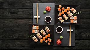 Bilder Sushi Fische - Lebensmittel Essstäbchen Sojasauce Bretter