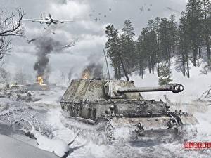 Fotos Selbstfahrlafette Winter Flugzeuge Schlachtflugzeug War Thunder Deutsch Russische Schnee Ferdinand,  Il-2 Spiele 3D-Grafik